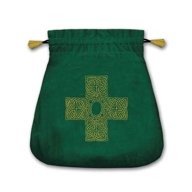Bolsa Tarot Terciopelo Verde 20,5 x 20 cm (Motivo Cruz Celta) *