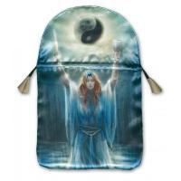 Bolsa Tarot Seda Azul 23 x 16 cm (Motivo Sacerdotisa) *