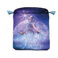 Bolsa Tarot Seda Azul 23 x 16 cm (Motivo Thelema)