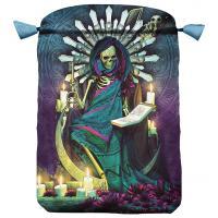 Bolsa Tarot Seda Azul 23 x 16 cm (Motivo Santa Muerte)