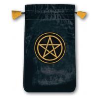 Bolsa Tarot Mini Terciopelo Negro 13,5 x 8,5 cm (Motivo Pentagrama) *